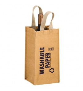 TORNADO – WASHABLE KRAFT PAPER WINE TOTE BAG – 1 BOTTLE