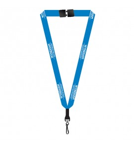"""3/4"""" Fine Print Polyester Lanyard with BREAKAWAY SAFETY CLASP"""