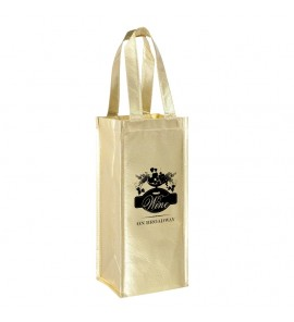 METALLIC VINEYARD COLLECTION-1 BOTTLE LAMINATED NON-WOVEN WINE TOTE BAG